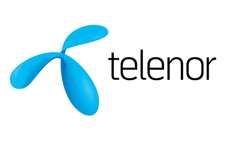 Plavi logo na beloj pozadini za Telenor